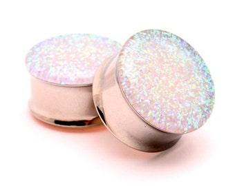 Clear Glitter Plugs Ear Gauge Plug Jewelry \u2022 Silver Glitter \u2022 Black O-Rings Included \u2022 Sizes 14g 00g