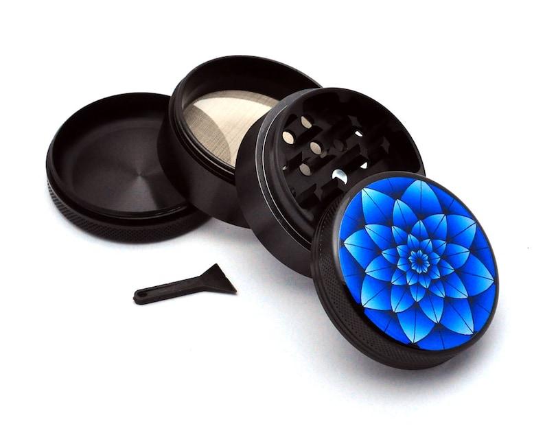Herb Grinder Black Aluminum Alloy Blue Lotus Picture Grinder