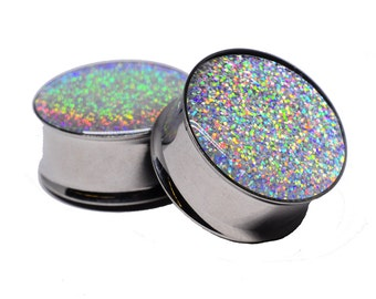 Embedded Silver Holographic Glitter Plugs gauges - 16g, 14g, 12g, 10g, 8g, 6g, 4g, 2g, 0g, 00g, 7/16, 1/2, 9/16, 5/8, 3/4, 7/8, 1 inch