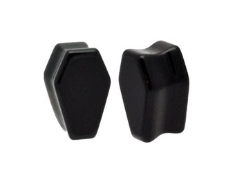 """Black Onyx Stone Coffin Shaped Double Flare Plugs (STN- 638) - 2g, 0g, 00g, 1/2"""", 5/8"""",  3/4"""", 7/8"""", 1"""""""