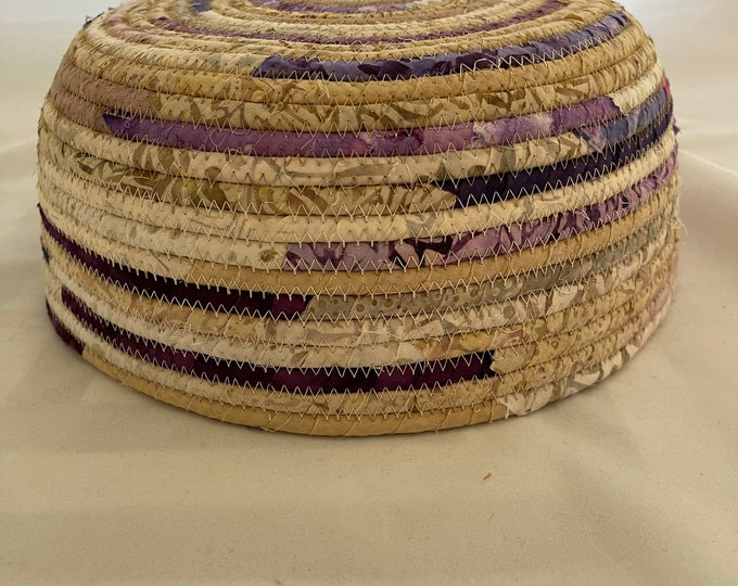 Large Beige Fabric Basket with Purple Accents