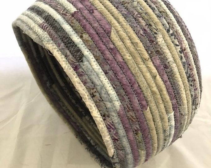 Large Grey, Lavender, and Dusty Blue Fabric Basket