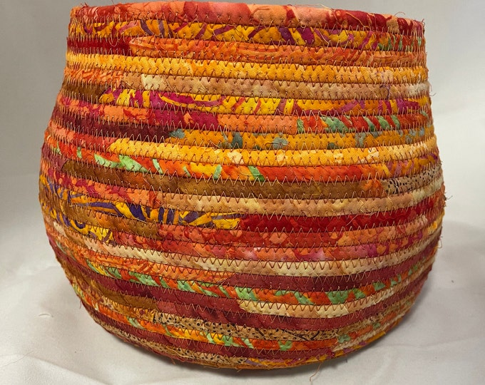 Large Orange and Red Batik Fabric Basket
