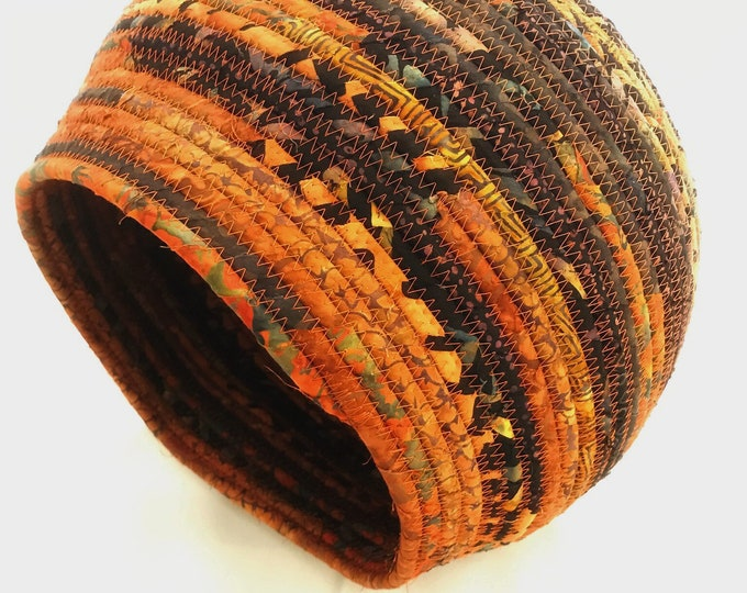 Extra Large Burnt Orange and Black Handmade Rope Basket