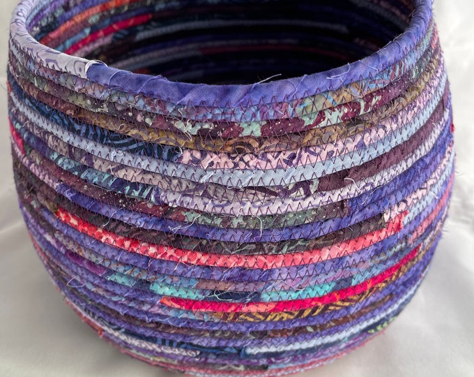 Large Sturdy Fabric Basket in Purples, Blues, and Pinks
