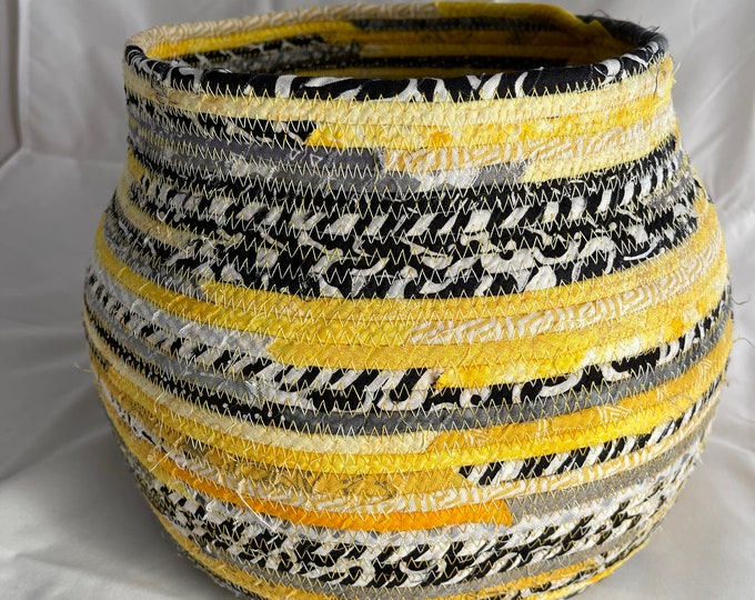 Extra Large Yellow, Black and White Fabric Basket