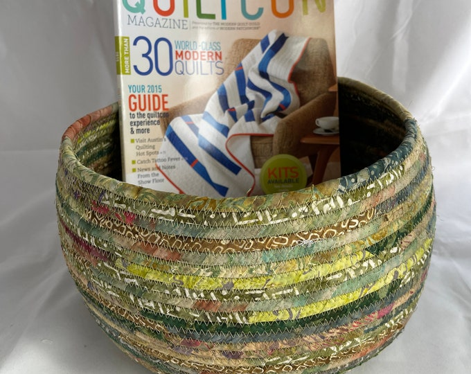 Large Handmade Fabric Basket in Shades of Green