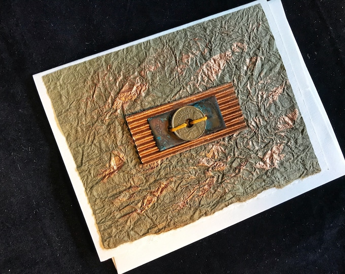 Handmade Card with Copper and Handmade Paper