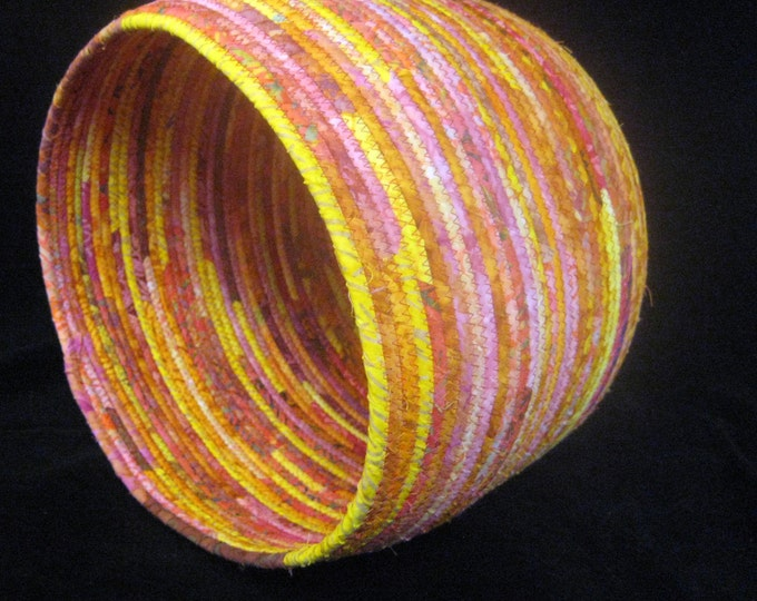 Large and Bright Pink, Yellow and Orange Fabric Basket