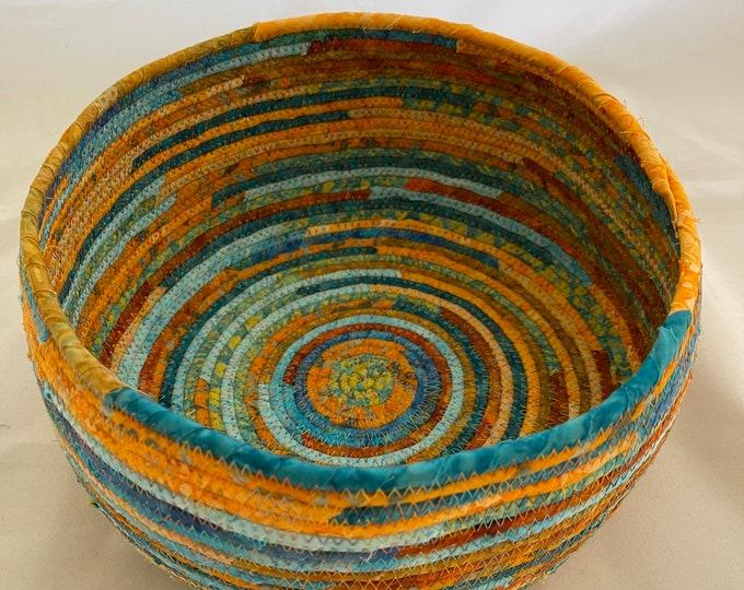 Bright Orange and Turquoise Fabric Basket