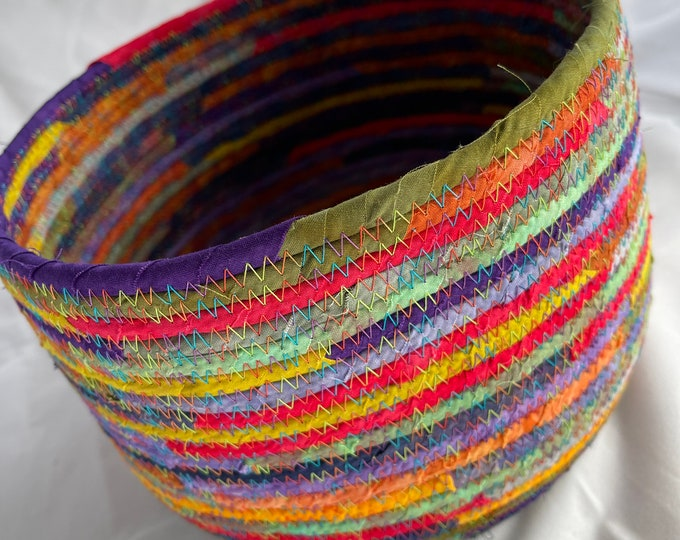 Colorful Fabric Basket Made with Bright Hand-Dyes