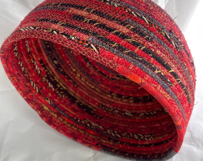 Red, Black and Gold Asian Fabric Basket