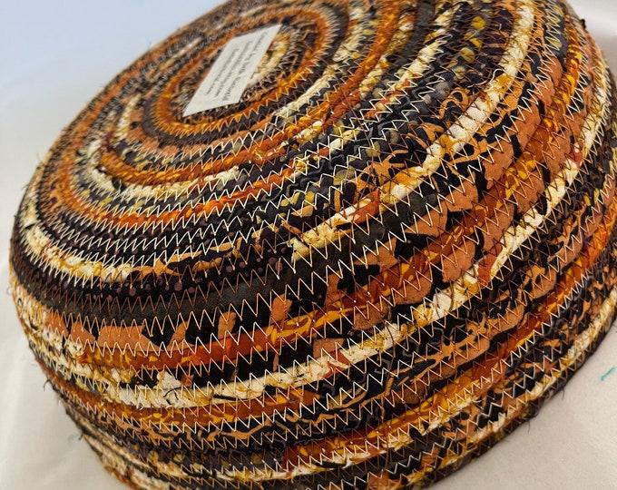 Handmade Fabric Basket in Rust, Black and Beige