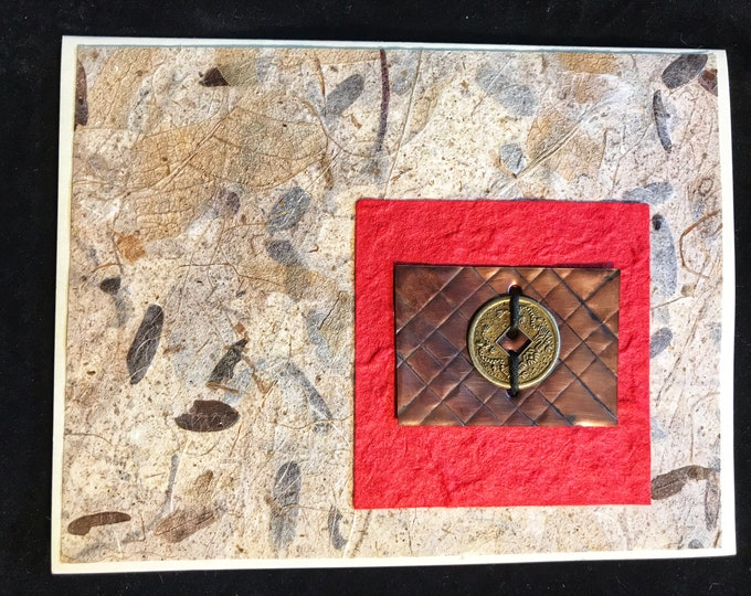 Handmade Card with Copper and Handmade Papers