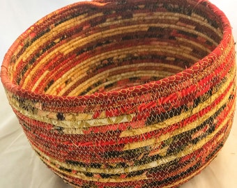 Asian Fabric Basket in Red, Black, Beige and Gold