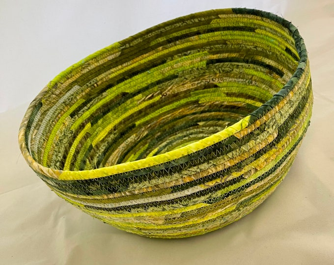 Extra Large Fabric Basket in Shades of Green