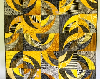 Yellow, Black and White Modern Lap Quilt
