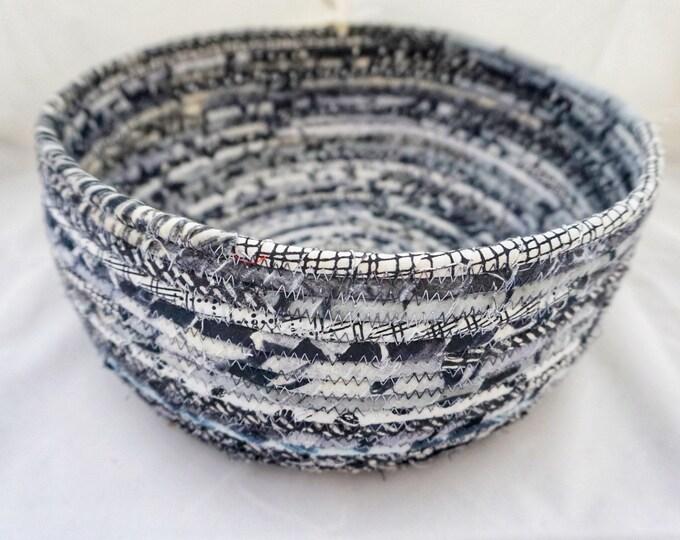Large Black, White and Grey Fabric Basket