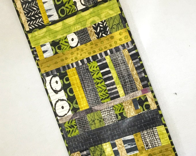 Improv Quilted Table Runner in Green, Black and White