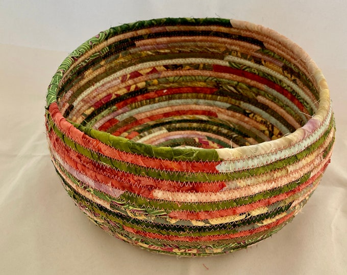 Coral and Moss Green Fabric Basket