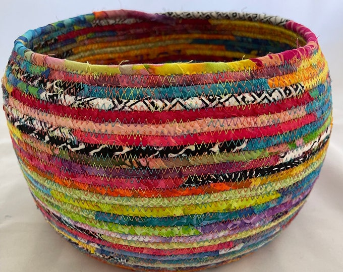 Large, Multicolor Fabric Basket with Black and White Accents