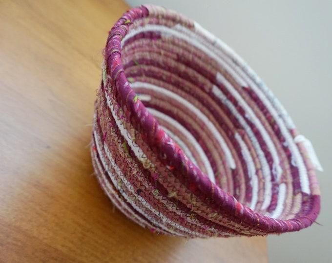 Thai Silk Fabric Basket in Burgundy and Ivory