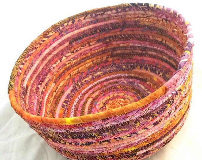 Pink, Orange and Purple Large Fabric Basket
