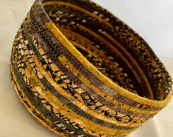 Gold, Black and White Fabric Basket
