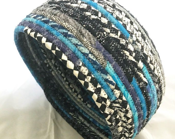 Fabric Basket in Black, White and Shades of Blue