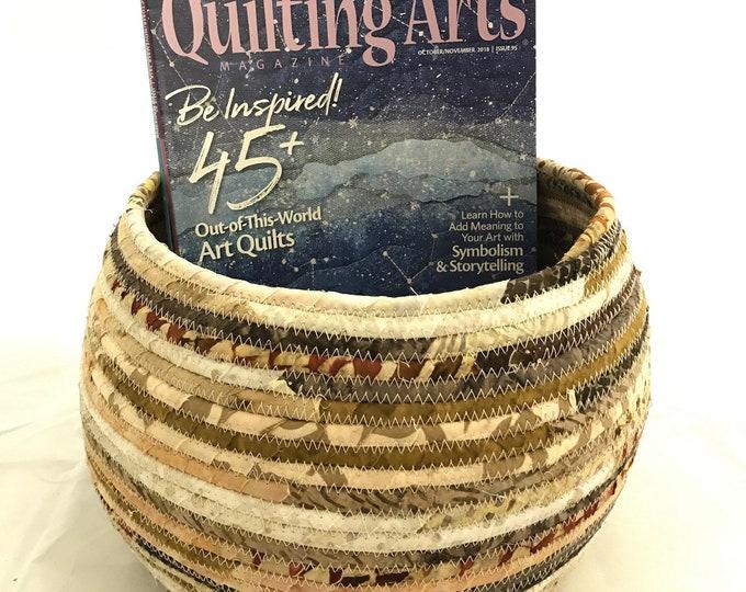 Large Earthtone Fabric Clothesline Basket