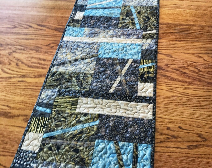 Asian Fabric Table Runner/Wall Hanging in Black, Grey, Beige and Light Teal