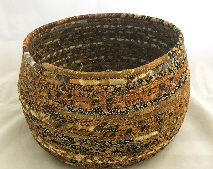 Large Gold, Brown and Black Asian Fabric Basket