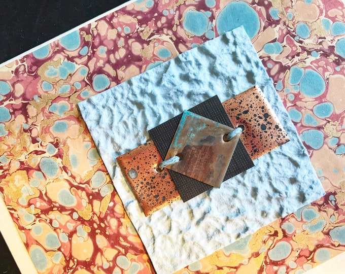 Blank Card with Marbled Paper and Manipulated Copper