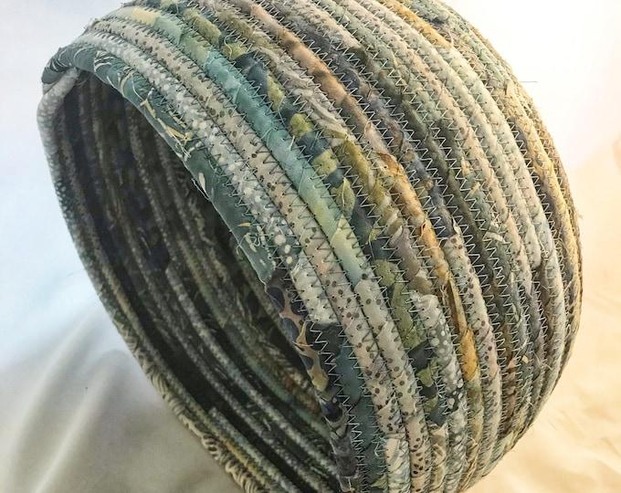 Grey, Teal, Light Blue Handmade Fabric Basket
