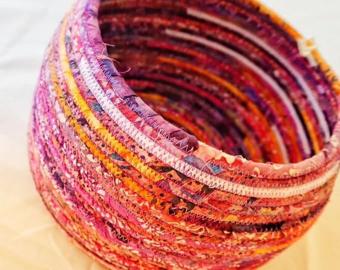 Large Rose, Pink, Purple Fabric Basket with Orange Highlights