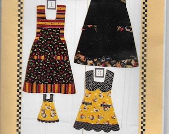 "Uncut, Matching S M L, 18"" Doll, Sewing Pattern, That's My Sister's Apron, Full Bib, Scallop Hem Hemline, Contrast Fabric, Mother Daughter"