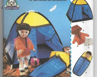 "Simplicity 5679 18/"" Girl Doll Clothes Pattern Camping Tent Sleeping Bag Uncut"