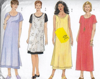 Uncut, Misses Size 16W-20W, Sewing Pattern, Butterick 6153, Fast and Very Easy Dress, Jumper, Plus Size Woman, Sleeveless, Knee Ankle Length