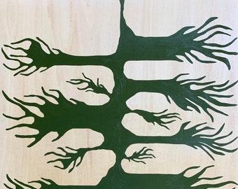 Leaf Series: Wild Root on Wood Panel
