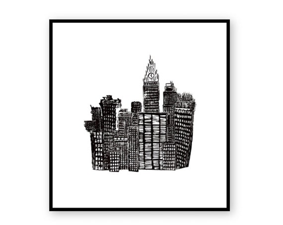 City Skyline Relief Print