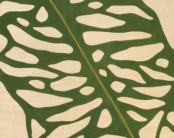 Leaf Series: Opliqua Leaf on Wood Panel