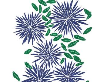Indigo Blossoms Print