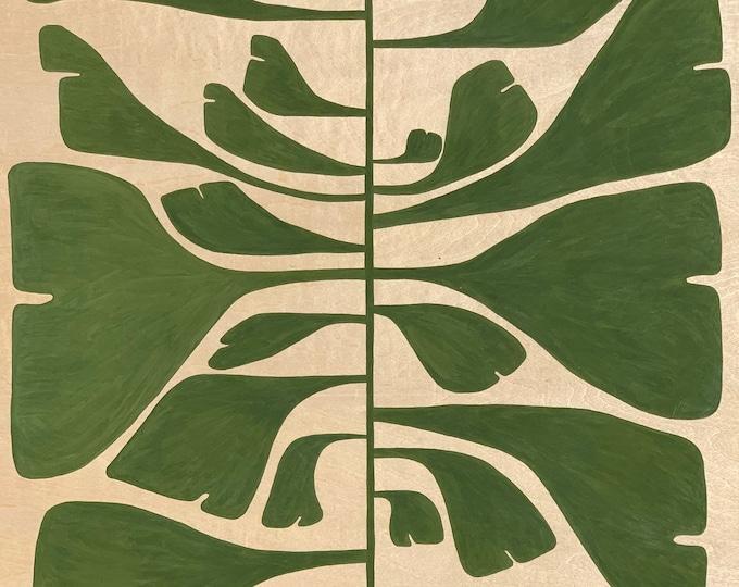 Featured listing image: Leaf Series: Gingko Leaf on Wood Panel
