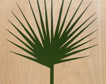 Leaf Series: Crooked Palm on Wood Panel