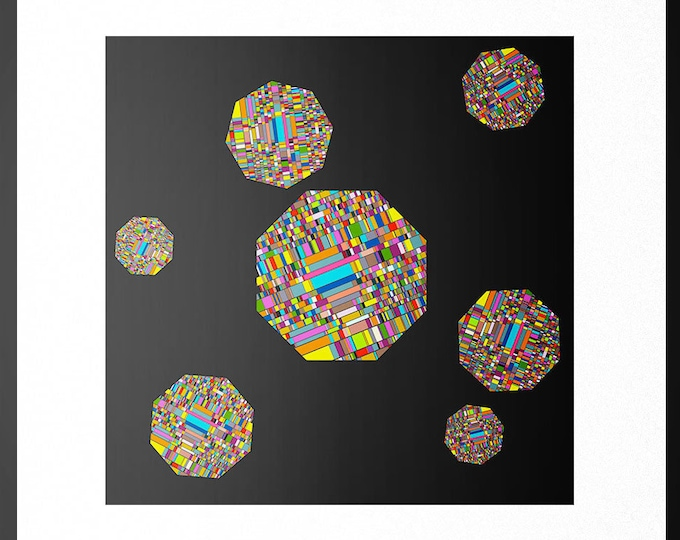 Pixelated Octagons Print