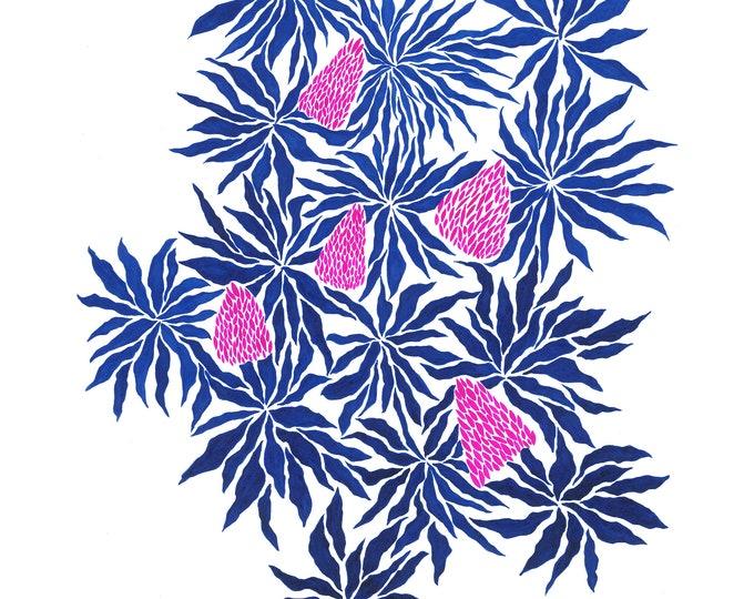 Indigo Flowers print