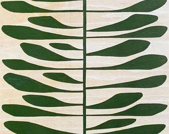 Leaf Series: Tall Pine Leaf on Wood Panel