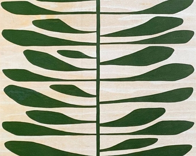 Tall Pine Leaf on Wood Panel