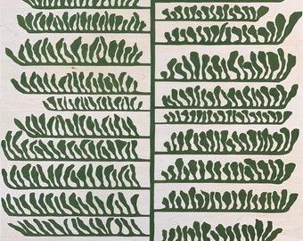 Leaf Series: Linear Leaves on Wood Panel