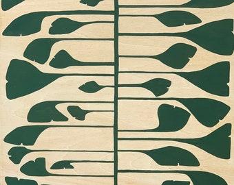 Leaf Series: Gingko Leaf on Wood Panel